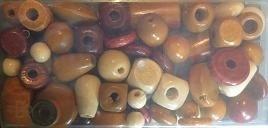 Houten kralen, bruin - 70 gram - Wooden beads, brown