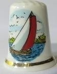 Vingerhoed - 080 - porselein - zeilboot - Thimble - bone china - sailing boat