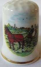 Vingerhoed - 026 - porselein - paard en wagen - Thimble - bone china - horse and carriage
