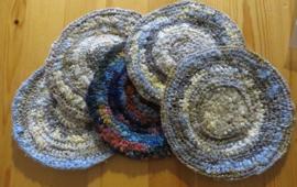 Jewelsilk® - Zijden onderzetters - 8 - Silk Coasters - 5 stuks