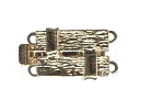 Clasp 2-roes - gold - 9 x 15 mm rectangle