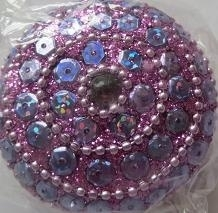 Doosje rond met pailletten - roze - Little box round with sequins - pink
