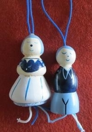 Delft blue wooden Luck Dolls - 4 cm - 2 pcs