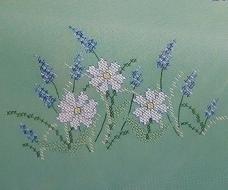 Dekservet met margrieten - groen - Small tablecloth with daisies - green