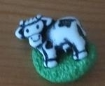 Buttons - Cow in the meadow - 2 pcs