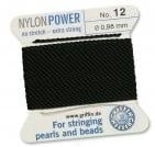 Kralen rijg draad - zwart - no. 1, 0.35 mm - black - nylon power - Bead cord