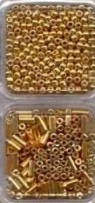 Glass beads and small buggles - gold