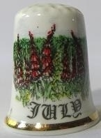 Vingerhoed - 070 - porselein - bloemen - juli - Thimble - bone china - flowers - July