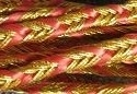 Gevlochten koord, goud met rood - 3 mm- Plaited Cord gold with red