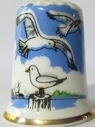 Thimble - 085 - bone china - seagulls