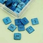 Buttons - Mother of Pearl - square - blue - 10 mm