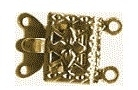 Clasp 2-rows - gold - 7 x 10 mm, 2 pcs