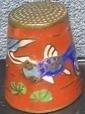 Vingerhoed, cloisonné - vis - 1 - Thimble, cloisonne - fish
