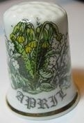 Vingerhoed - 021 - porselein - bloemen - april - Thimble - bone china - flowers - April