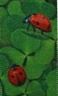 Lint klavertje vier en lieveheersbeestjes - 15 mm - Ribbon four-leaf clover and ladybirds