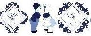 Lint boertje en boerinnetje - blauw - 25 mm - Ribbon - kissing couple - blue