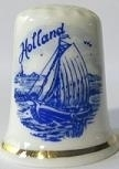Delfts blauw - Vingerhoed - 097 - porselein - zeil boot - Thimble - bone china - sailing boat