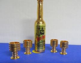 Miniatuur Fles met 4 glazen - Miniature Bottle with 4 glases