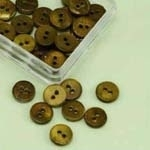 Buttons - Mother of Pearl - round - brown - 10 mm