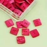 Buttons - Mother of Pearl - square - 10 mm - pink