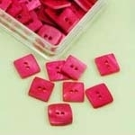Knopen parelmoer vierkant - roze - 10 mm - pink - Buttons Mother of Pearl