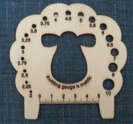 Naalddikte meter, schaap - Knitting Pin Gauge, Sheep