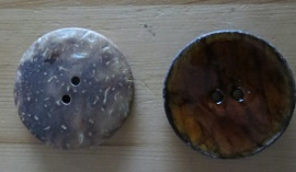 Buttons - coconut - brown - 2 pcs