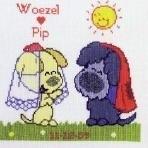 Guusje Nederhorst - Woezel en Pip - Wedding Sampler - aida