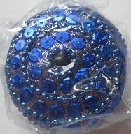 Doosje rond met pailletten - blauw - Little box round with sequins - blue