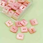 Buttons - Mother of Pearl - square - pink - 10 mm