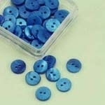 Buttons - Mother of Pearl - round - blue - 10 mm