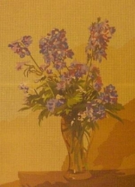 Canvas -Vase of delphiniums