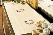 Loper ecru - Mistletoe - Table runner ecru - aïda