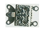 Clasp 2-rows - silver - 7 x 10 mm, 2 pcs