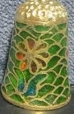 Thimble - 003 - glass and cloisonne - flower