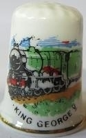 Vingerhoed - 041 - porselein - trein - King George V - Thimble - bone china - train