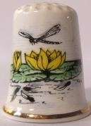 Vingerhoed - 069 - porselein - waterlelie - Thimble - bone china - water lily
