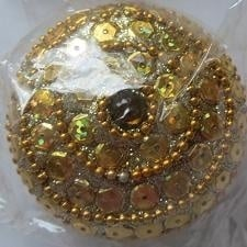 Doosje rond met pailletten - goud - Little box round with sequins - gold