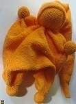 Duim poppetje - oranje - nickey velours - rag doll - orange