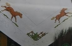 Small Tablecloth horses, counted cross stitch