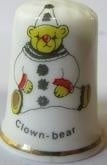 Vingerhoed - 046 - porselein - clown beer - Thimble - clown bear