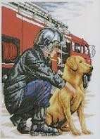 De Redders, Labrador en brandweerman - The Rescuers, Labrador and firefighter  aida