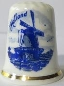Thimble - 100 - bone china - lighthouse   - Delft blue
