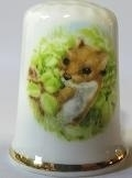 Vingerhoed - 028 - porselein - vos - Thimble - bone china - fox