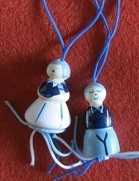 Delfts blauw - Hollandse geluks poppetjes - 3 cm - 2 st. - Delft blue wooden Luck Dolls
