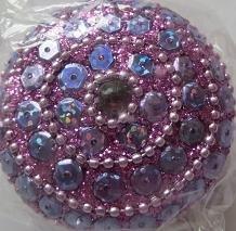 Doosje rond met pailletten - roze - Little box round with sequins - pink