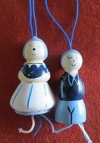 Delfts blauw - Hollandse geluks poppetjes - 4 cm - Delft blue wooden Luck Dolls