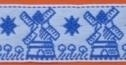 Lint met molen - Delfts blauw - 25 mm - Ribbon with windmill - blue