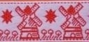 Lint met molen - rood - 25 mm - Ribbon with windmill - red