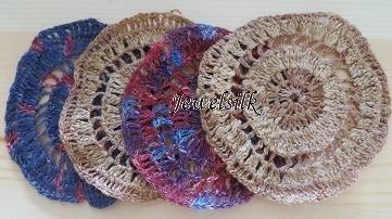Jewelsilk® - Zijden onderzetters - 7 - Silk Coasters - 4 stuks